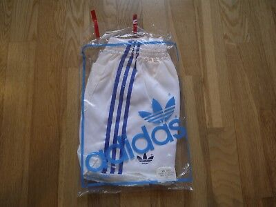 Vintage White ADIDAS 1980s Shiny Nylon Shorts Made In England 95/38 In Bag Glanz