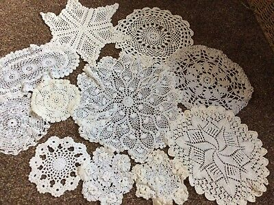 Collection Of 11 Vintage Doilies. Crocheted. White And Cream