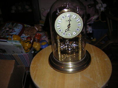 Anniversary Clock Made In Germany With Glass Dome 24 Cm Tall See Description