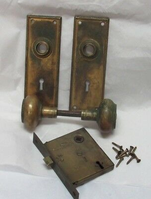 Antique Heavy Solid Brass/Bronze Lock Door Knob Set Russell Pat. 1889