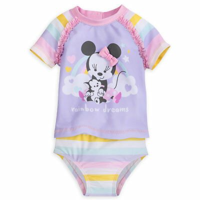 Disney Store Minnie Mouse & Figaro Two Piece Swimsuit Baby Pastel Girl's Suit