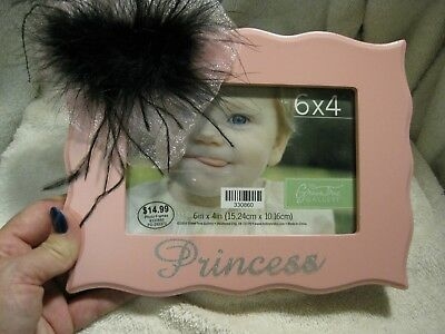 """New""""PRINCESS"""" child's picture frame in pink with embellishment"""