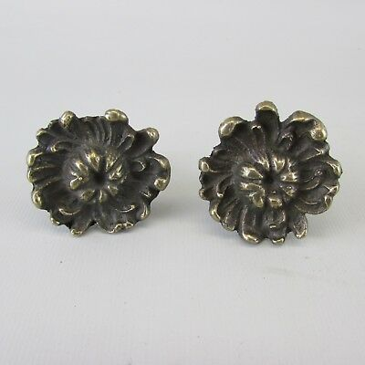 Lot of 2 VTG Antique Brass Metal Small Cabinet Knobs Pulls Drawer  cast