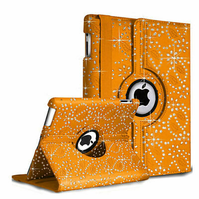 New Rotate Bling Sparkly Diamond Leather Case For Apple iPad 9.7 2017/9.7 2018