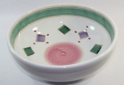 Caleca Belvidere Serving Bowl 10 Inch Green Purple Diamonds Squares Pink Circle