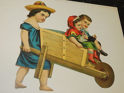 Victorian Scraps Die Cuts Large Early Children in Wheelbarrow