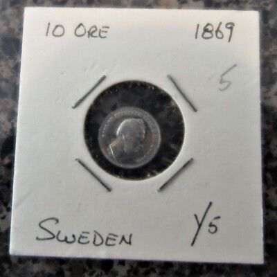 Sweden 10 ore, dated 1869