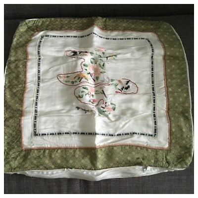 Vintage Hand Embroidered Silk Cushion Cover, Oriental Japanese Birds & Flowers