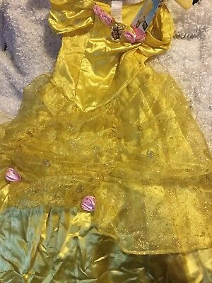 Disney Store Princess Belle Costume Dress Sz 7-8 Costume Full Gown Deluxe NWT!