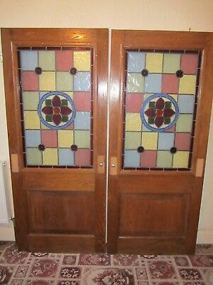 Solid oak stained glass door from a hotel (B)