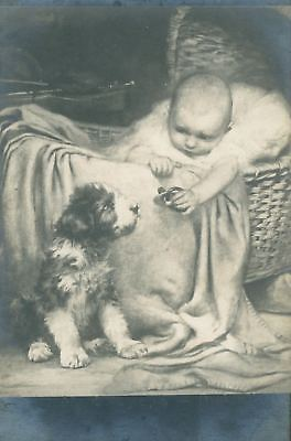 Old Postcard PC Wire Jack Russell / Fox Terrier Dog & Baby Paris France c1908