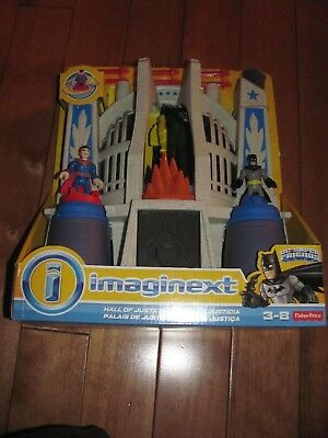 Fisher Price Imaginext DC Super Friends HALL Of JUSTICE Superman & Batman NEW