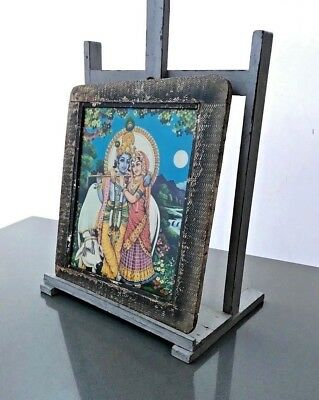 Vintage Indian. Original Old Print Of Krishna & Radha, Authentic Art Deco Frame