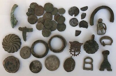 Group of Detecting found hammered and Roman Coins and Artefacts
