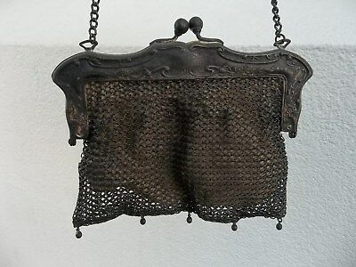 Antique Late 1800s Victorian German Silver Mesh Bag Purse~Fringe Tassels~Wedding
