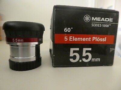 "Meade series 5000 5.5mm 1.25"" 5 element plossl in MINT condition. Box tatty."