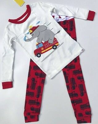 3e307f332 BABY GAP KIDS Gray Red White Navy Fire Truck Long Sleeve Pajama Set ...