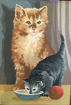 Vintage Completed Orange Gray Tabby Cat Kitten Paint By Number