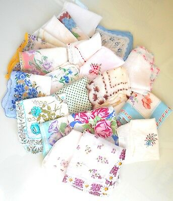 Vintage Handkerchief, Hanky, Hankies Lot Of 25, Sewing, Quilts, Doll Clothes
