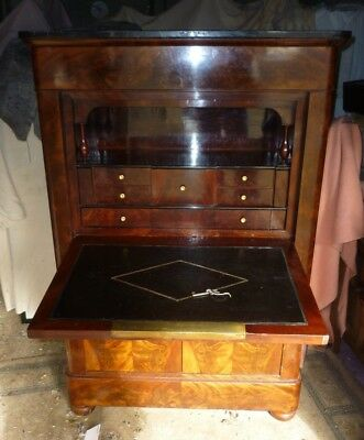 Very Pretty Victorian Marble Top Secretaire Fall Front Cabinet