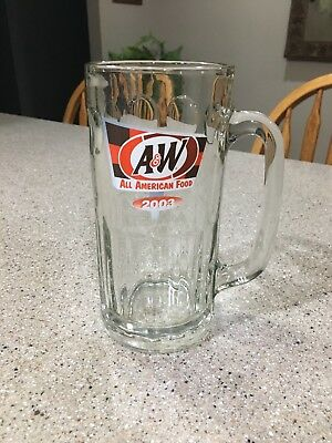 "A&W Root Beer All American Food 2003 Glass Mug 14 oz 7"" Tall"