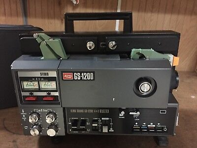Elmo GS-1200 Super 8mm Stereo Sound Movie Projector In Mint Condition~Tested