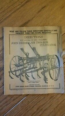 Early John Deere NH Two Row Cultivator Horse Drawn Operator Manual Setup Manual