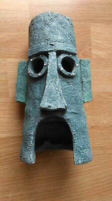 Aztec Mask Head Mount blue small statue