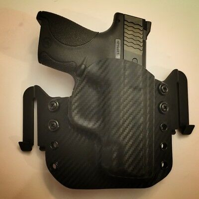 Custom Made OWB Kydex Holster - S&W M&P Shield  45 ACP - Carbon Fiber Black