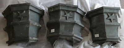 Lot of 3 Antique Cast Zink Star Architectural Downspouts in Great Patina
