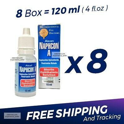 8 x Naphcon A Eye Drops 15 mL (0.5 oz) Redness Itchy Allergy Relief Exp:05/2022