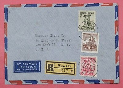 Dr Who 1959 Austria Tri Franked Registered Airmail  Vienna To Usa 17135