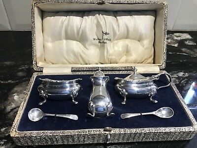 Boxed Walker and Hall Plated Cruet Mustard Set Blue Glass Inner Bowls Spoons
