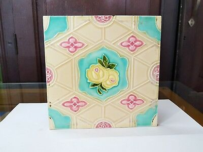 1930 Vintage Old Floral Majolica Art Nouveau Architecture Unused Tile Japan