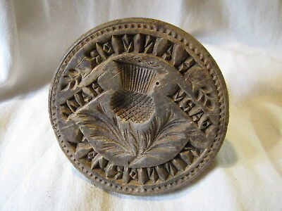 Antique Treen Wooden Butter Stamp Mould Hanmer Hall Farm Kinnerley Unusual c1900