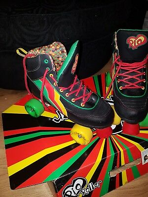 Rio Fixed Shoe Quad Roller Skates Black Green Red Yellow Size UK 7 EUR 40.5
