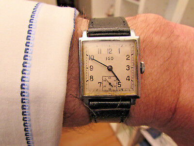 Vintage 1930's 'IGO' Art Deco 7J Swiss Made Gents Watch VGC 4 Age/Runs but Stops
