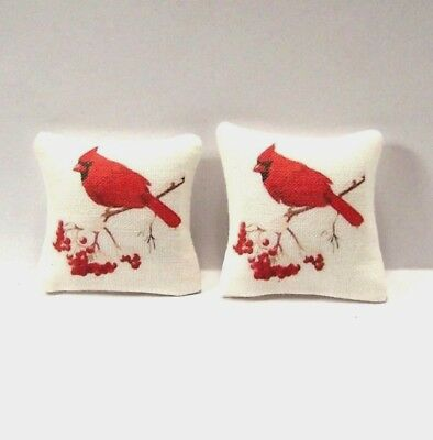 Miniature Decorative Throw Pillows Dollhouse Diggs 1:12 Bird Red Cardinal Branch