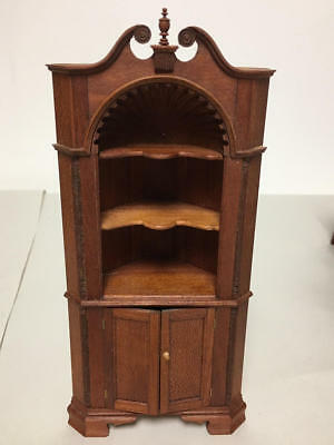 Unmarked Artisan Dollhouse Miniature Corner Cabinet With Shell Top Dome