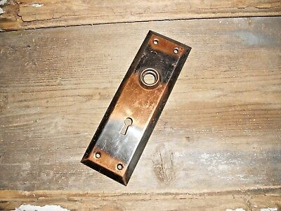 Vtg Antique Nicely Aged Tiger Stripe Copper Flash Japanned Door Knob Back Plate