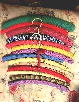 Lot of 12 Assorted Vintage Hangers Crochet Handmade Wooden 50's