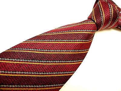 Genuine BRIONI Tie. Hand Made in Italy. New. Long. Burgundy & Wine Red Stripes