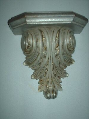 Home Interiors & Gifts Gia Silver & Gold Leaf Decor Wall Hanging Shelf