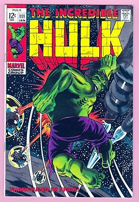 Hulk,The Incredible #111 Marvel Silver Age Comic(1968) VF Shanghaied in Space
