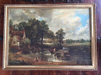 Vintage 20th Century Framed Hand Finished Print on Canvas English Countryside
