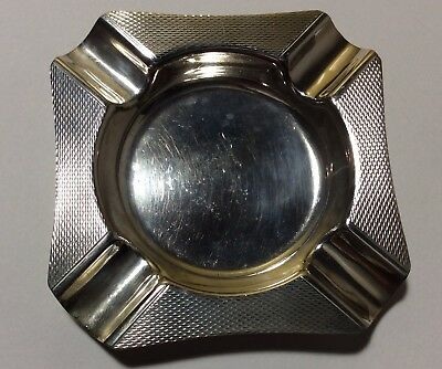 Beautiful Art Deco Styled Sterling Silver Machine Finished Ashtray. Birmingham,