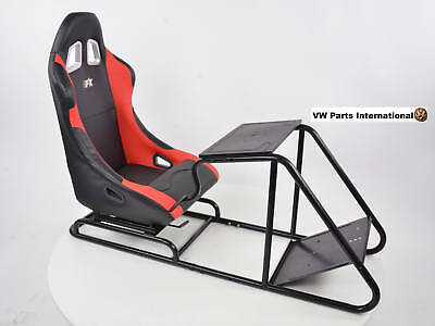 Car Gaming Racing Sim Frame Chair Bucket Seat PS4 PS3 XBOX Black/Red Leathette