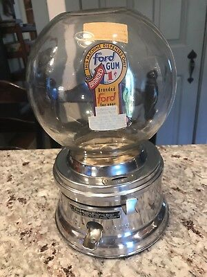 Vintage Ford Gum Ball Machine Penny 1 Cent Gumball Countertop 1960's Crome Glass