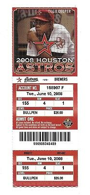 2008 Houston Astros vs Milwaukee Brewers Ticket Stub Cecil Cooper