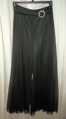 Vtg. 80's Palazzo Pants Sheer Poly. Lined Silver Tone Buckle Elastic Waist Med.